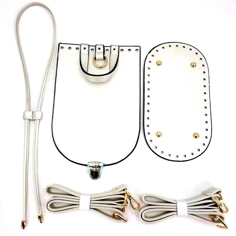 Handmade Bag Shoulder Strap Women PU Leather Woven Set Bag Bottom For DIY Bag Backpack 5PCS Set High Quality Bag Accessories