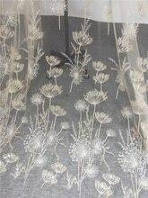1 Thước Cao Cấp Vàng Đính Hạt Bồ Công Anh ĐẦM VOAN THÊU Phối Ren Haute Couture Vải Ren Thủ Công DIY Cưới 135Cm rộng