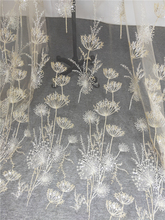 1 Yard Luxury Gold bead dandelion sequin tulle embroidery lace fabric haute couture fabric lace DIY craft wedding 135cm wide