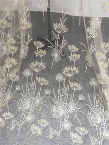 Image 1 - 1 ヤードの高級ゴールドビーズタンポポスパンコールチュール刺繍レース生地オートクチュール布レースdiyクラフト結婚式 135 センチメートルワイド