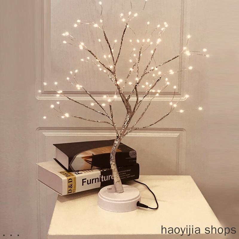 Nouvelle maison intérieur chambre mariage fête 108 LED USB feu arbre lumière fil de cuivre Table lumière barre décoration de noël veilleuse