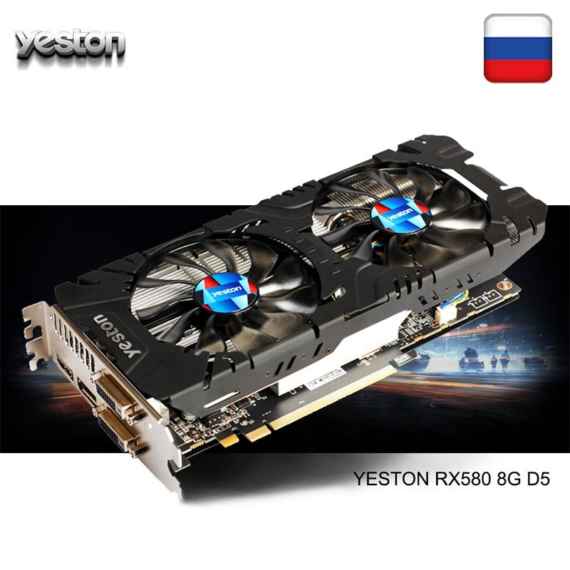 Yeston RX Radeon GPU 580 GB 256bit GDDR5 8 Gaming computador Desktop PC suporte De Vídeo Placas de vídeo DVI/HDMI PCI-E X16 3.0