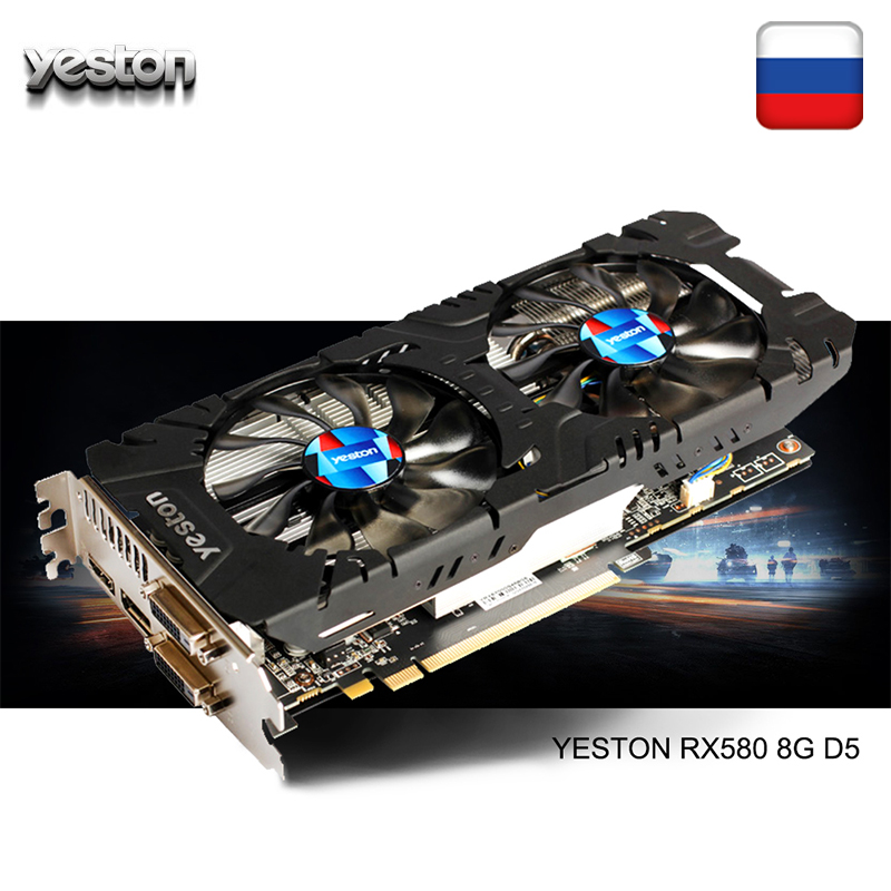 Yeston radeon rx 580 gpu 8 gb gddr5 256bit gaming desktop computador pc placas de vídeo suporte dvi/hdmi pci-e x16 3.0