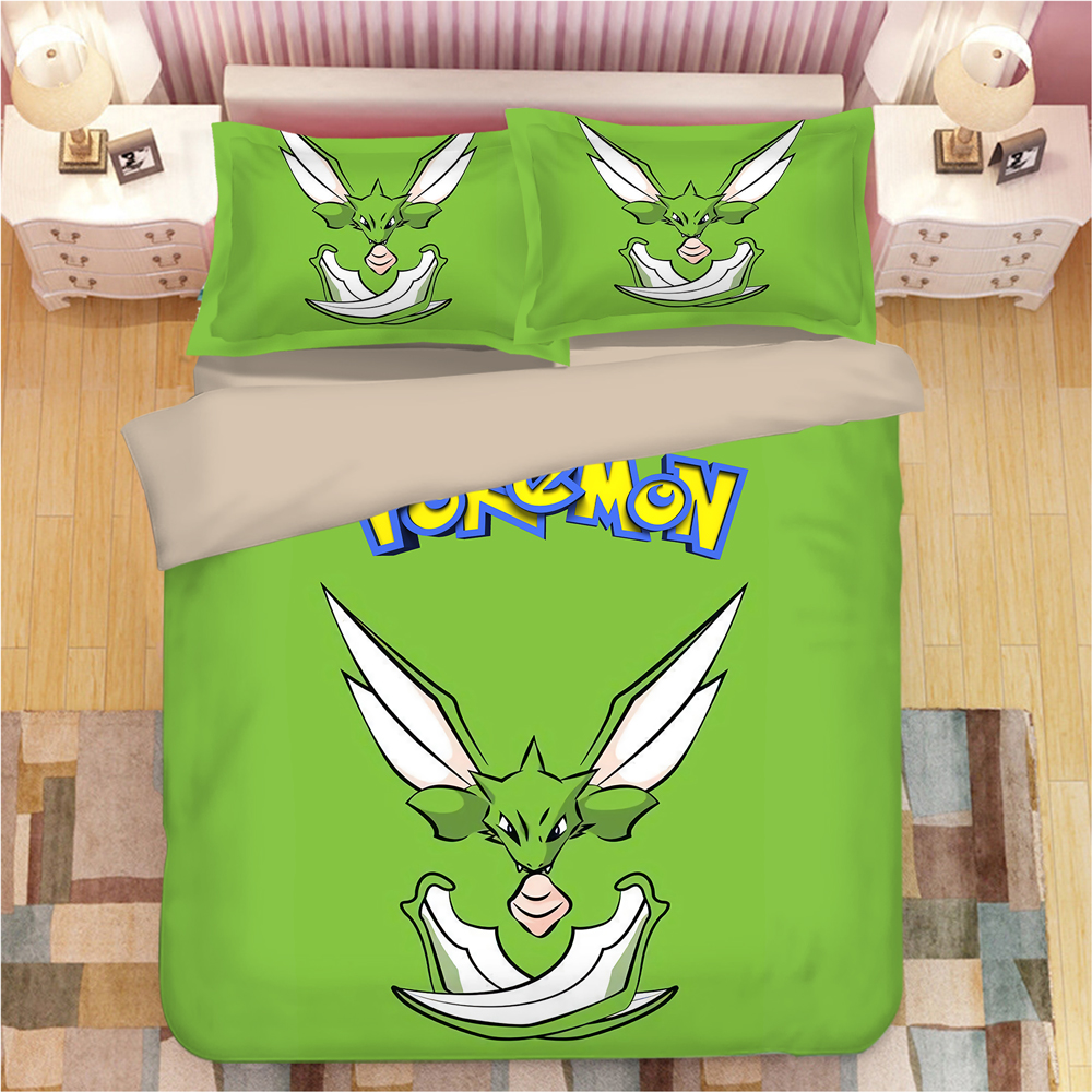 3D Bedding Set Pokemon Duvet Cover Set Single Double Queen King Bedclothes Pillowcase Anime Home Textiles Green Quilt Cover Sets