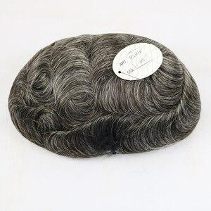 V-loped Hairline микро узлы задняя тонкая основа кожи Toupee замена волос система 100% Remy Mirage человеческие волосы мужской парик