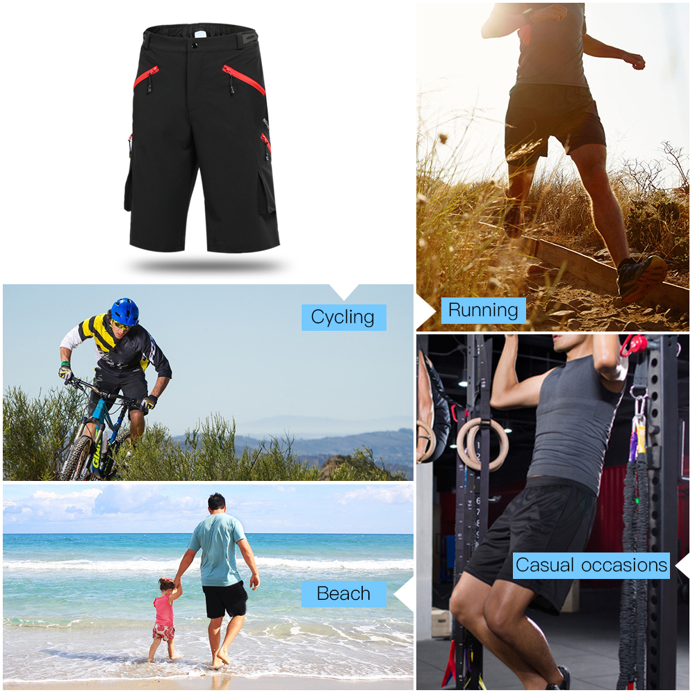ARSUXEO 2018 Mens Cycling Shorts MTB Downhill Shorts 4 front zipper pocket Bike Bicycle Shorts capacete da bicicleta