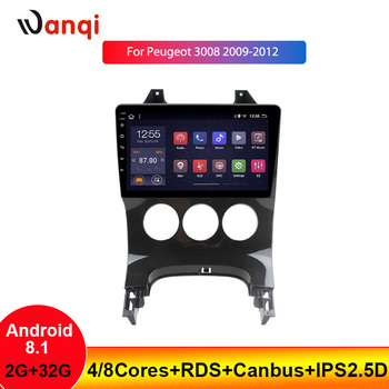 2+32G 9INCH RDS Car Radio Multimedia Player For Peugeot 3008 2009-2012 Android 8.1 Navigation GPS Car WITH SWC Bluetooth NO DVD image