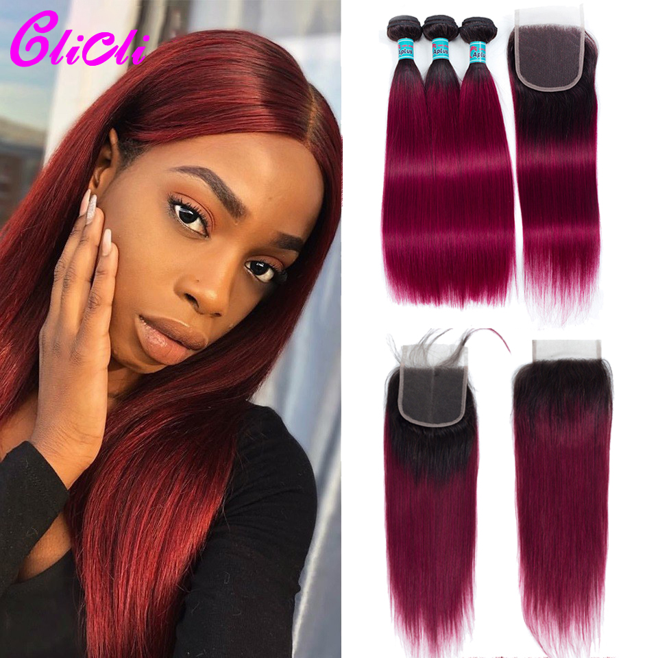 T1B Burgundy Ombre Hair Bundles With Closure Malaysian Straight Human Hair Weave Bundles With 4x4 Lace Closure Remy 150% Density