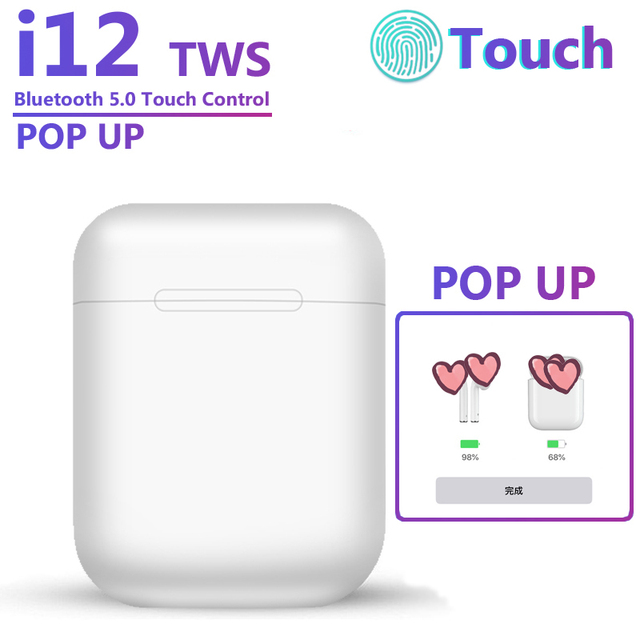 i12 TWS Bluetooth Earphone Touch Control Wireless Earbuds 1 1 Size Better Than pk i10