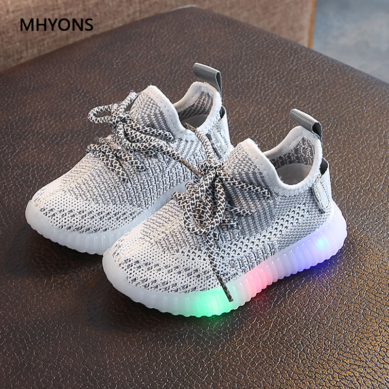 MHYONS 2019 Toddler Baby Kids Shoes Boys Girls Luminous Sneakers Light Up Shoes Fashion Sport Running LED Shoes Anti-Slip Shoes