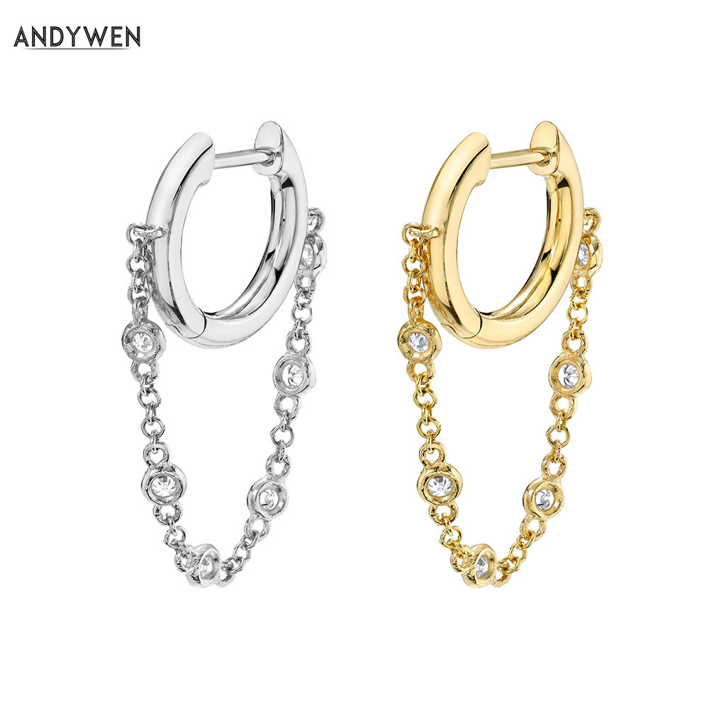 ANDYWEN 925 Sterling Silver 8mm Single Bezel Drop Slim Hoop Chain Earring Zircon Crystal Loops Circle Gold Clips Women Jewelry