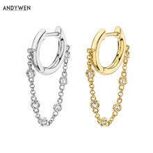 ANDYWEN 925 Sterling Silver 8mm Single Bezel Drop Slim Hoop Chain Earring Zircon Crystal Loops Circle