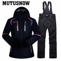 Traje de esquí traje de las mujeres de nieve de invierno conjunto de ropa impermeable grueso chaqueta de esquí y pantalones conjunto-30 grados de esquí y snowboard trajes marca