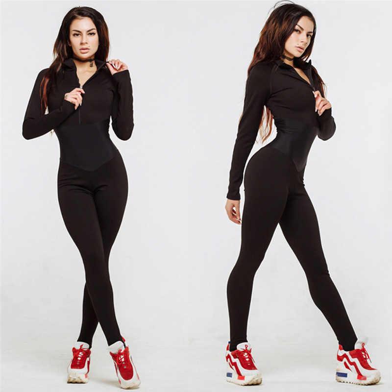 Lossky комбинезон для бега, спортивный женский модный осенний сексуальный черный костюм с длинным рукавом, спортивный костюм, 2019 длинные штаны