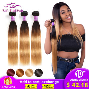 Brazilian Straight Hair-Bundles Remy-Extensions Human-Hair Soft-Feel Ombre T1B/27 1/3/4pcs
