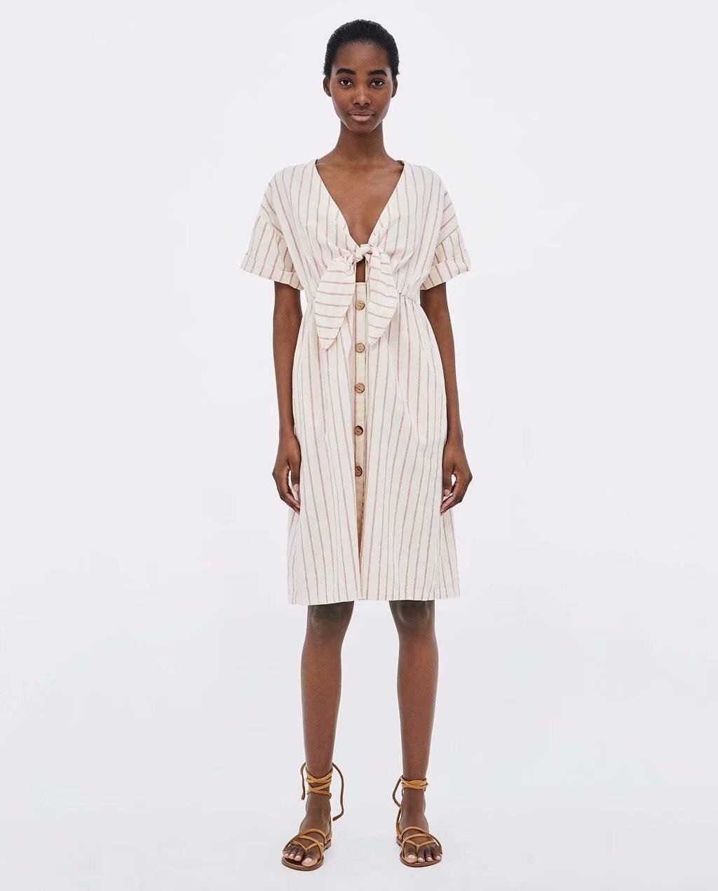 Europe And America 2018 Summer New Style WOMEN'S Dress Elegant V-neck Short Sleeve Striped Knotted Slim Dress Medium-length Dres