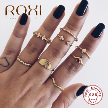 ROXI Luxury Wedding Jewelry Rings for Women Girl Triangle Zircon Crystal Twist Open Ring Anillos 925 Sterling Silver Cover Bague