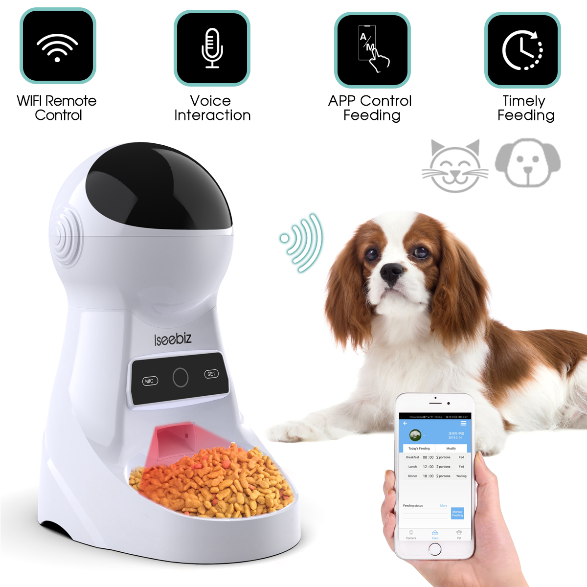 Electronics - Wifi Automatic Pet Feeder 3L Pet Food Dispenser Feeder Medium and Large Cat Dog 4 Meal Voice Recorder and Timer