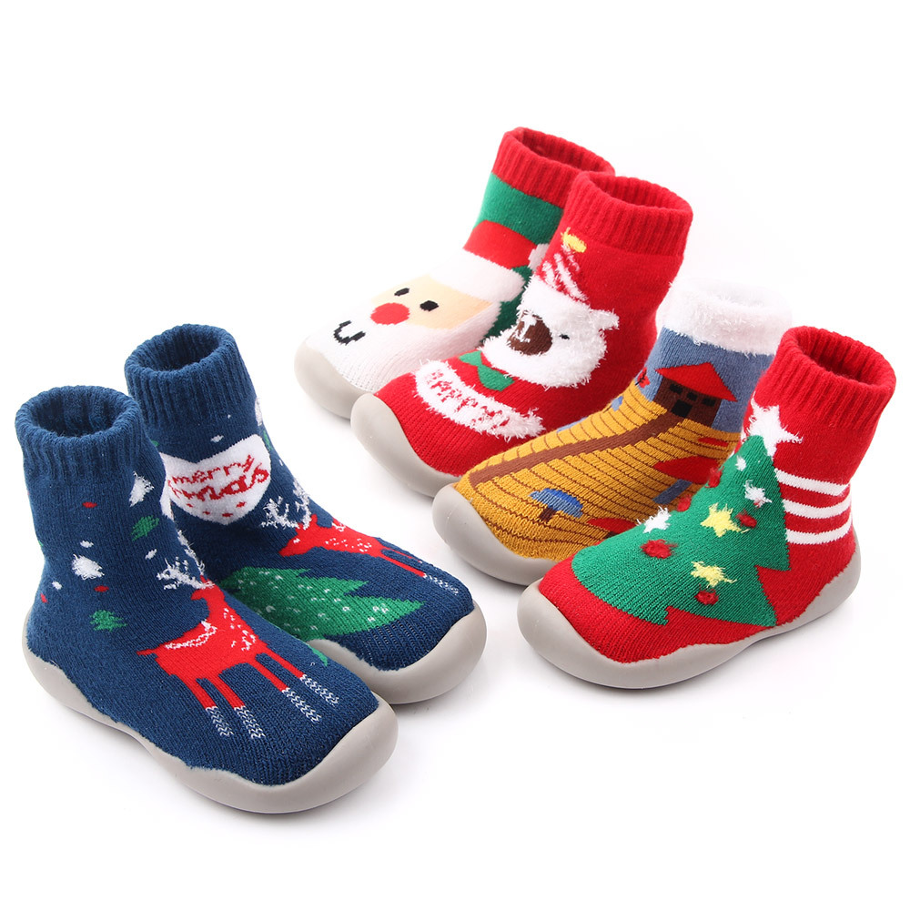 Baby Toddlers  Anti-Slip Fuzzy Slipper Floor Breathable  Boy Girl Christmas Indoor Winter Warm Shoes Socks