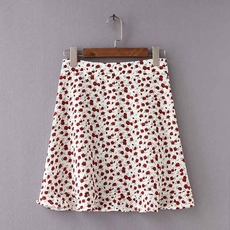 Suzhan kropki kwiatowy Print plisowana Mini spódnica kobiety elastyczne spódnice z wysokim stanem lato 2019 eleganckie kobiece dół