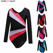 Artistic Gymnastics Unitard Girls Long Sleeve Dance Leotard Child Asymmetrical Costume Gymnastic Leotard Kids Dance Ballet Suit