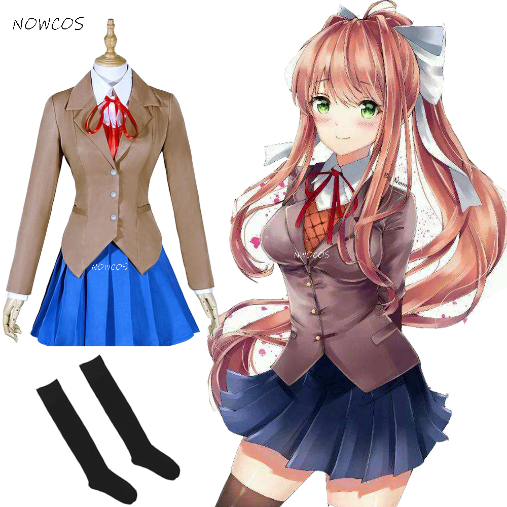 Doki Doki Literature Club Monika Cosplay Sayori Yuri Natsuki Cosplay Costume School Uniform Girl Women Game Costume Full Sets