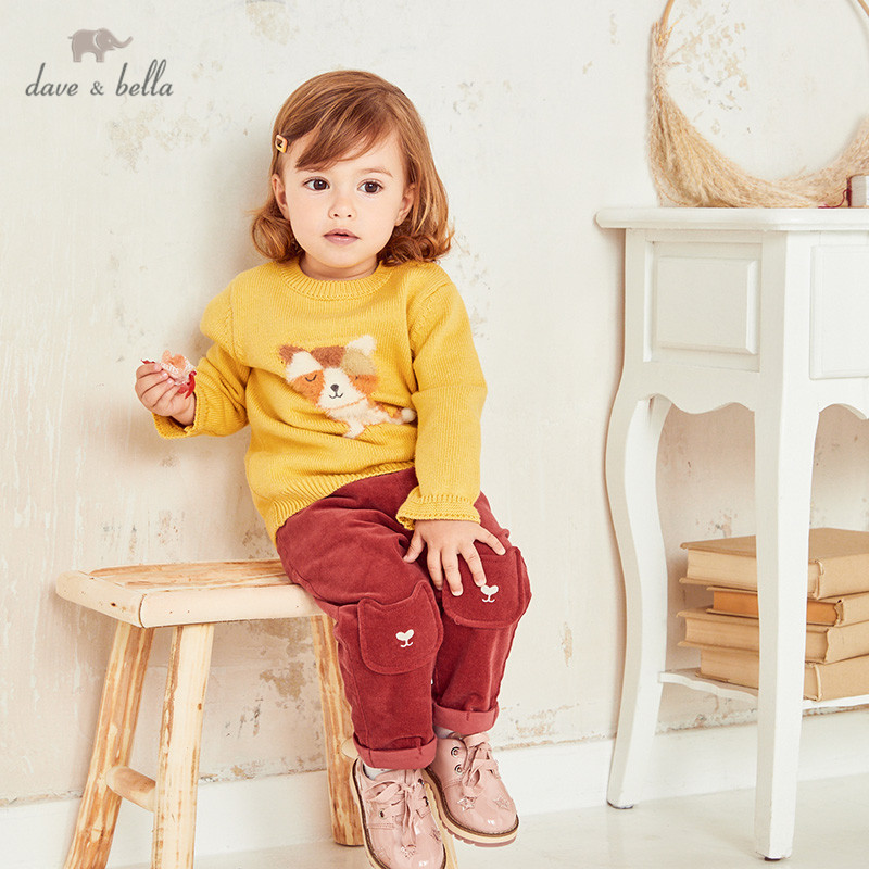 DBZ14560 1, dave bella, милый осенний вязаный свитер для маленьких девочек с мультяшными шариками, модные эксклюзивные топы для малышей|Свитера| | АлиЭкспресс