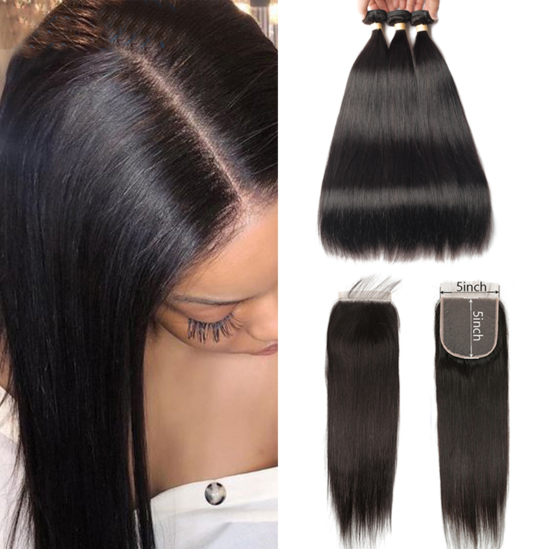 Sapphire Hair Straight Human Hair 3 Bundles With 5x5 Closure Brazilian Hair Weave 3 Bundles With Closure Remy Hair Extension