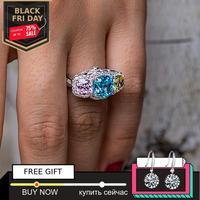 NOT FAKE 8*8mm cushion cut Diamond Ring not fake S925 sterling silver fine citrine sapphire amethyst ruby coloured diamond