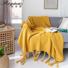 REGINA Luxury Hand Knitted Blanket Throw Frignes Warm Soft Green Yellow Gray Pink Weighted Blanket For Bed Fleece Plaid Throws