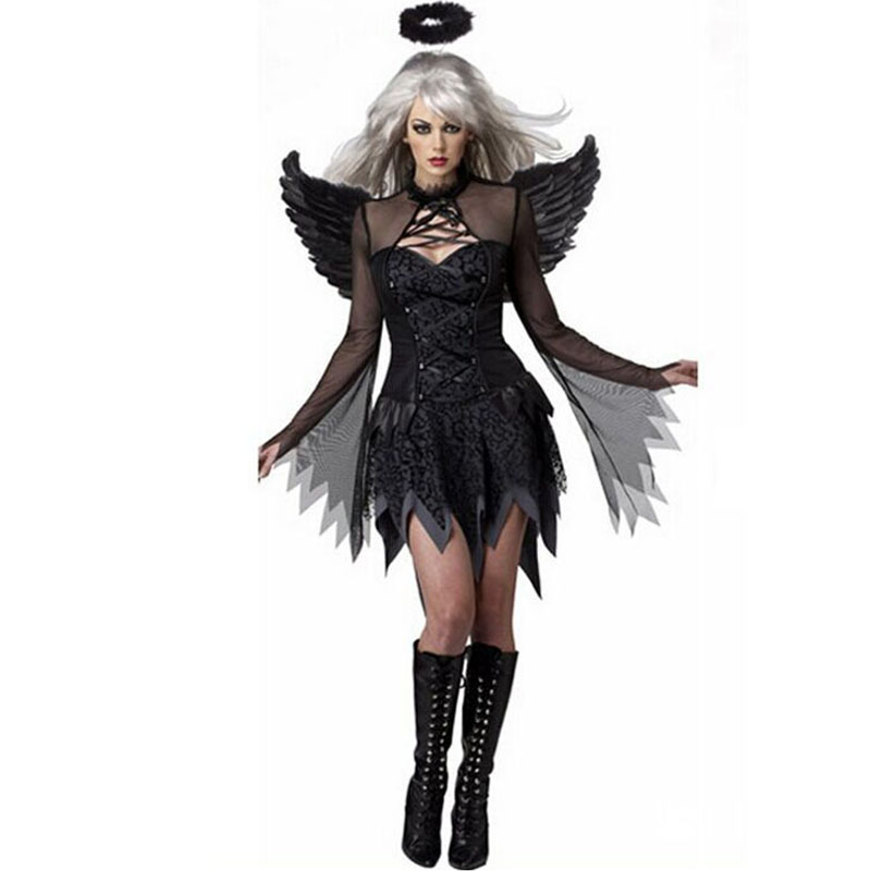 HOT! <font><b>Halloween</b></font> Black Devil Cosplay <font><b>Costume</b></font> ForWomen <font><b>Vampire</b></font> White Angel Dress With Wings Adult <font><b>Sexy</b></font> Party Witch <font><b>Costumes</b></font> Girl image