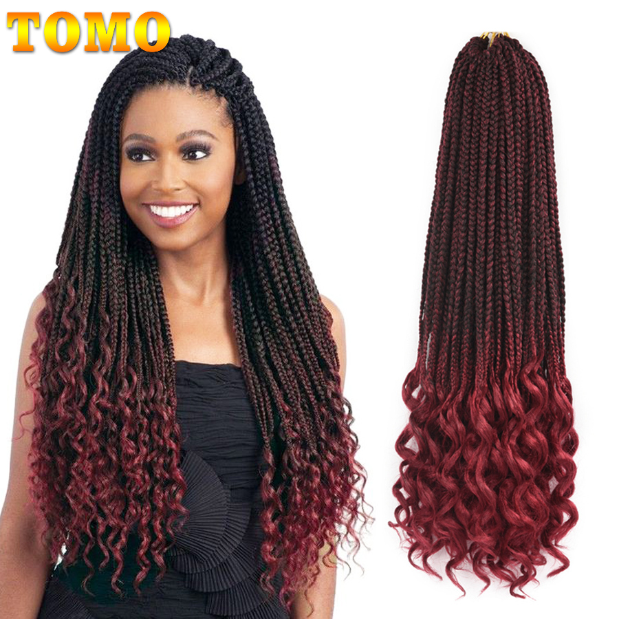 TOMO 14 18 24 Inch Box Braids Curly Ends Synthetic 22 Strands Hair Weaves Crochet Hair Extensions 6 Colors Black Red Available