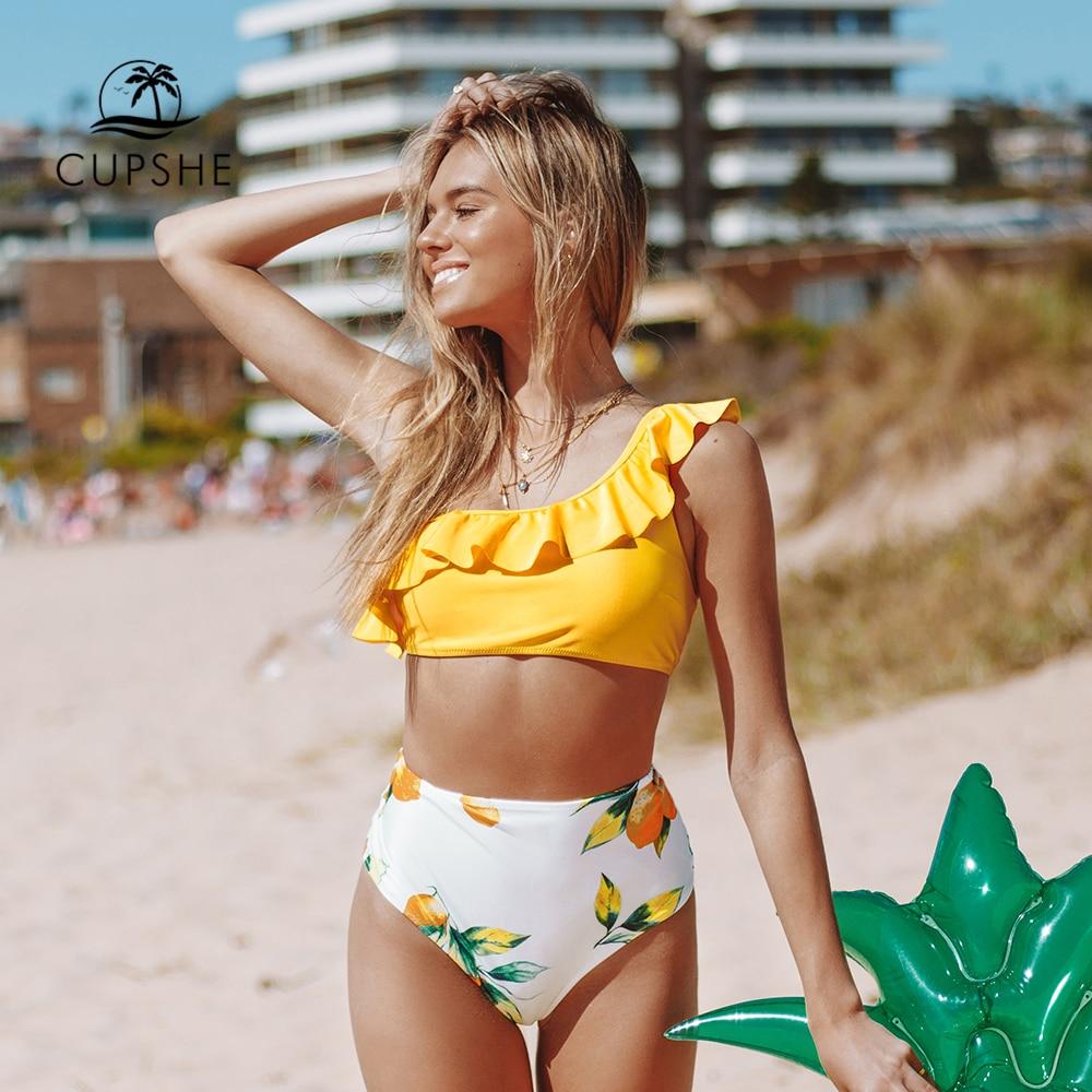 Image 3 - CUPSHE Yellow Lemon Print One Shoulder High Waisted Bikini Sets Sexy Swimsuit Two Pieces Swimwear Women 2020 Beach Bathing SuitsBikini Set   -