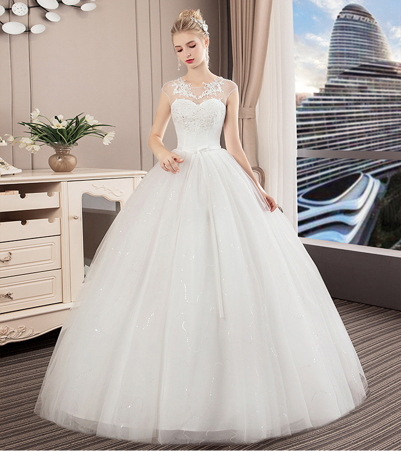 For New Year Christmas Princess Wedding Dress With Beads 2020 Simple Bridal Dress Customize Wedding Dress Gowns Robe De Mariage