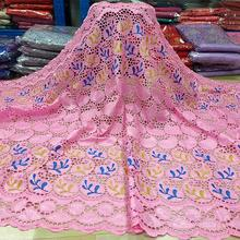 African Lace Fabric 2020 High Quality Nigerian Lace Embroidery With Rhinestone French Bazin Riche Getzner Fabric 5yards/Lot A477