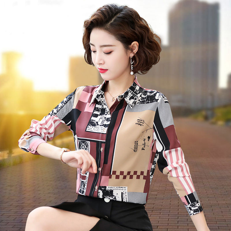 Women's Spring Summer Style Chiffon Blouses Shirts Women's Printed Button Turn-down Collar Printed Casual Tops SP567 9