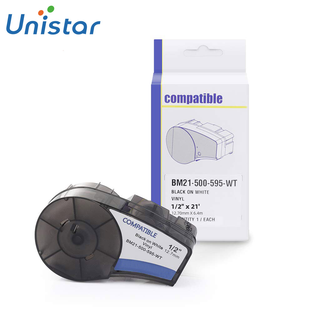 Unistar M21 500 595 WT Compatible for Brady Labels High Adhesion Vinyl Film Label Tape Work with Brady BM.P21 PLUS|Printer Ribbons| |  - title=