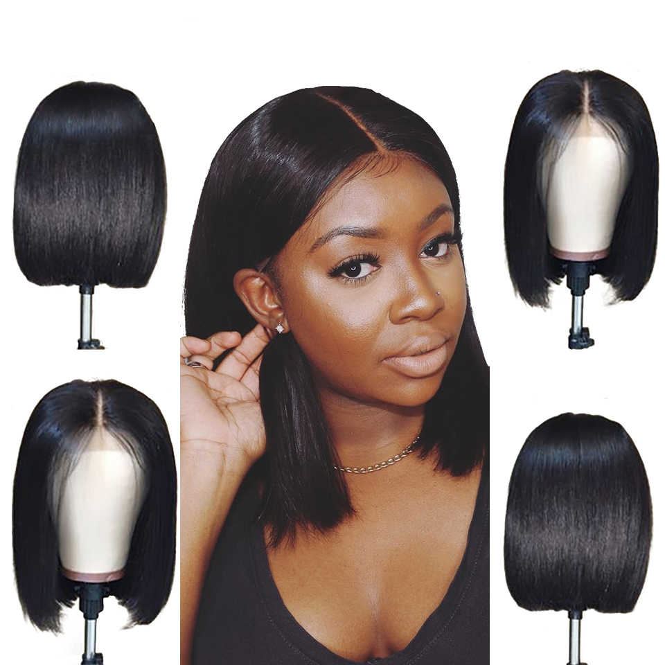 613 peruka z krótkim bobem 100% peruki z ludzkich włosów brazylijski doczepiane proste włosy koronki przodu peruki 8-16 cal blond wstępnie oskubane Ombre peruki Jarin