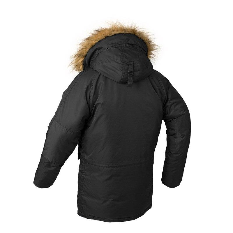 KIOVNO Männer Winter Warme Bomber Jacken Mit Pelz Kragen Military Thermische Kapuze Lange Jacken Outwear Für Männlichen Parkas Multi Taschen - 4