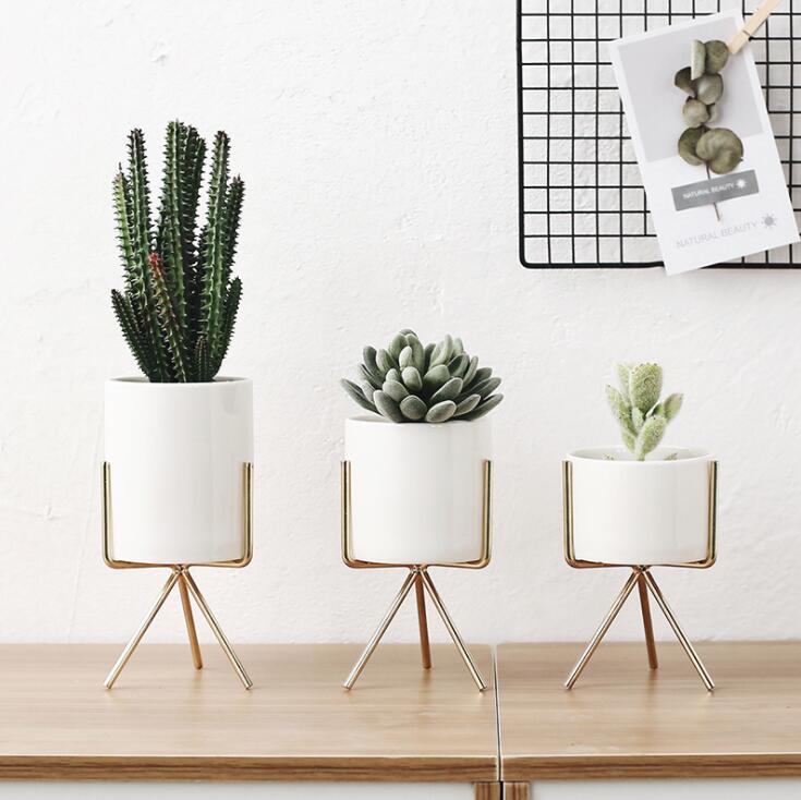 Nordic Style Ceramic Flower Pot Planter Iron Frame Plant Holder Green Plant Flower Pot Desk Office Decoration Ornament
