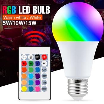 E27 inteligentna lampa kontrolna Led światło RGB możliwość przyciemniania 5W 10W 15W dioda Led RGBW lampa zmieniający kolory żarówka Led Lampada RGBW biały wystrój domu tanie i dobre opinie DuuToo CN (pochodzenie) ROHS Ciepły biały (2700-3500 k) RGBW WW LED Bulb 2835 Bedroom AC 85-265V 500-999 Lumenów Globe