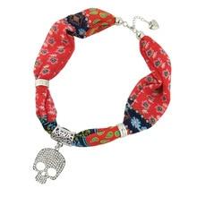 Rhinestone skull star Summer 2019 jewelry necklace pendant scarf printed chiffon