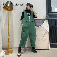 See you love High Waist Green Split Joint Long Overalls Trousers New Loose Fit Pants Women Fashion Tide Spring Autumn 2019