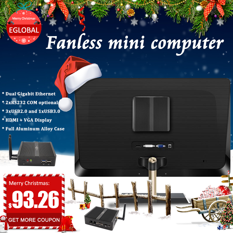 Eglobal 2*Lan 2*COM Small Ultra Pfsense Mini Computer Quad Core Intel Celeron J1900 N3160 Win 7 10 Fanless Firewall Serverminipc
