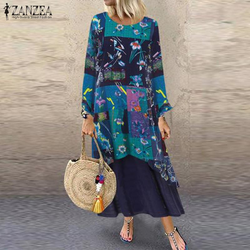 ZANZEA Women Bohemian Floral Printed Dress Pacthwork Sundress Long Sleeve Kaftan Party Vestido Robe Femme Loose Dresses Tunic
