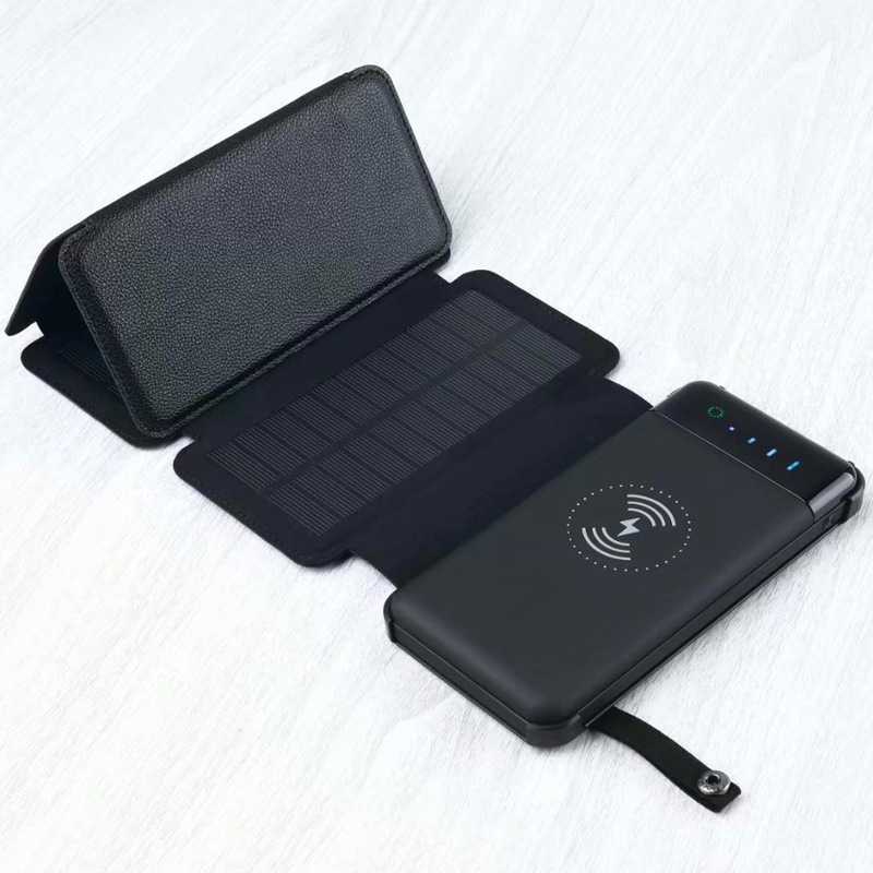 Large Capacity Universal Solar Powerbank <font><b>12000mah</b></font> External Battery Pack Wireless Charger Phone Waterproof Foldable Power Bank image