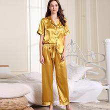20.19 Fashion Women Pajamas Sets Sleepwear Short Sleeve  Long Pants Ladies Delicate Nightwear Bathing Suit 9.26