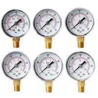 "40mm Face Pressure Gauge 1/8"" BSPT Bottom Mount 15,30,60.100,160 200, 300 PSI & Bar for Air Gas Water Fuel Liquid"