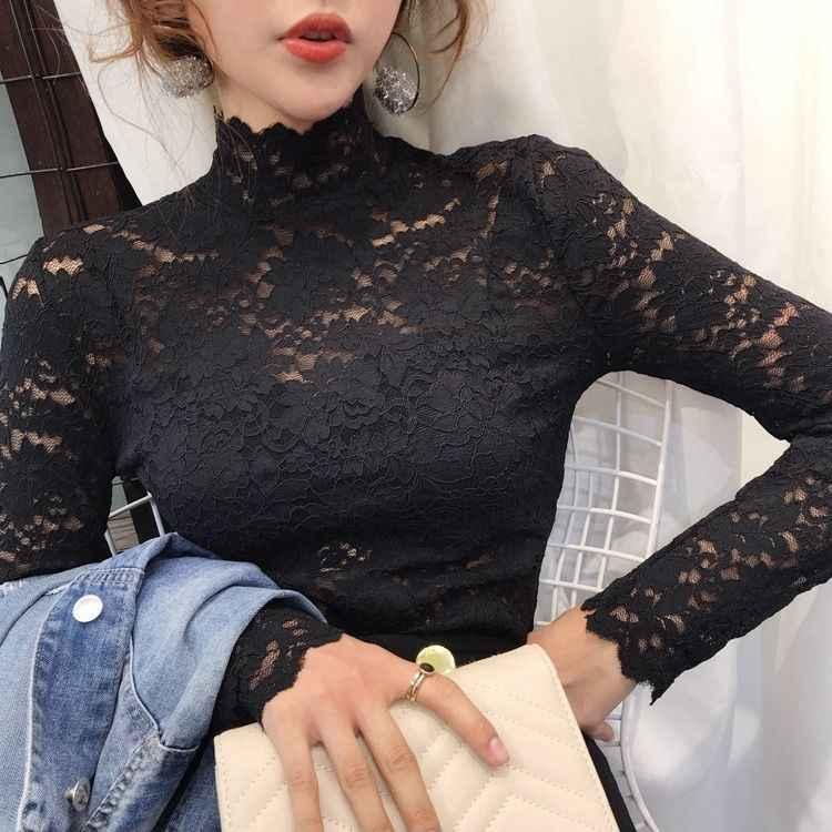חדש חורף חצי צווארון חולצה Slim תחרה ארוך שרוולים חולצה נשי קוריאני חלול מערבי סגנון חולצה UT150