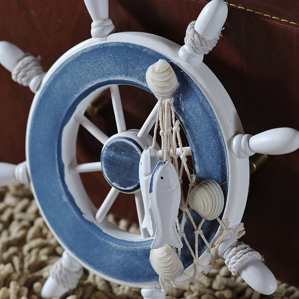 23 Cm Anchor Helmsman Wooden Boat Ship Rudder Fishing Net Wall Nautical Decoration Wheel Wood Craft Home Decoration Accessories